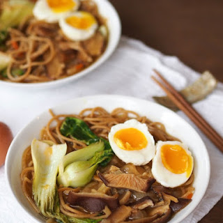 Vegetarian Ramen Noodle Soup with Shiitakes and Bok Choy.