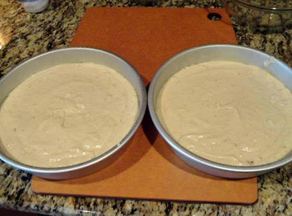 Pour into two 9 inch layer pans that have been greased and floured. ...