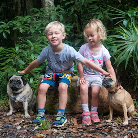 With the Pups by Geoffrey Wols - Babies & Children Child Portraits ( pets, children, pugs, dogs, girl, boy, brother, sister,  )
