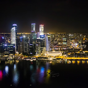 Night shot of Singapore by Narayna Gopi - Buildings & Architecture Office Buildings & Hotels
