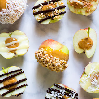 Stuffed Caramel Apples with Chocolate Drizzle.