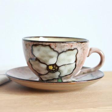 Pink flower cup & saucer