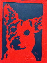 Photo: dog   linoleum block