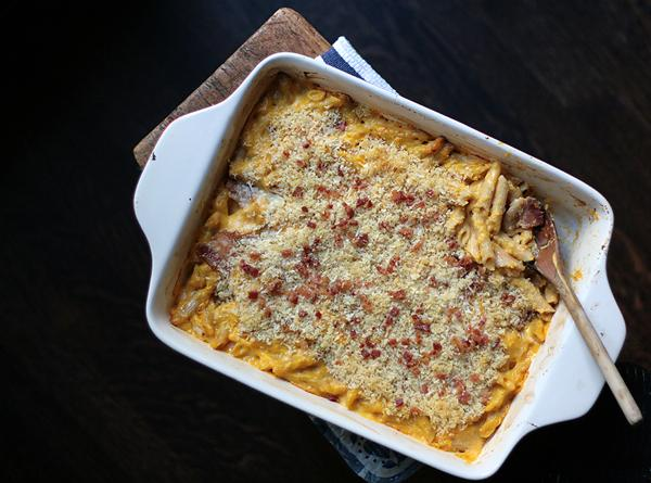 Butternut Squash Mac  & Cheese  With  Bacon Toppin Recipe