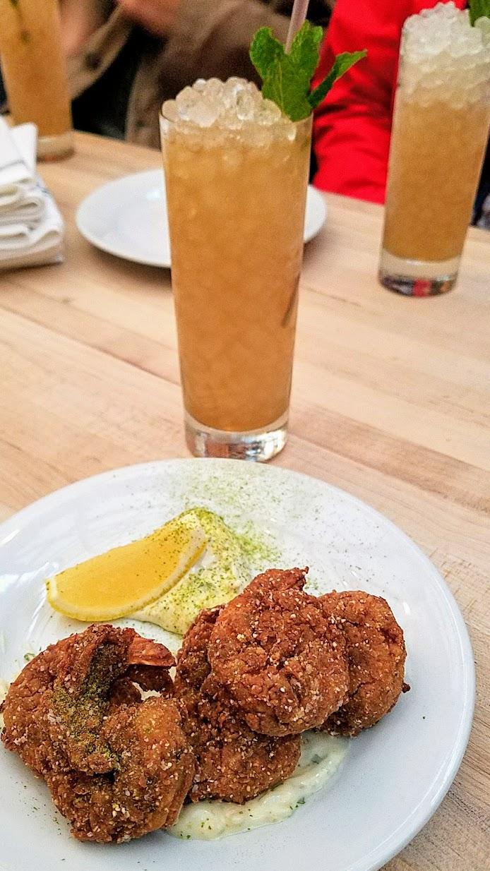 Ras El Hanout Fried Shrimp with preserved lemon tartar, shishito powder at Radar Restaurant on North Mississippi, Portland