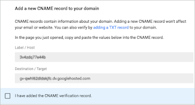 The Label / Host and Destination / Target CNAME record fields are shown.
