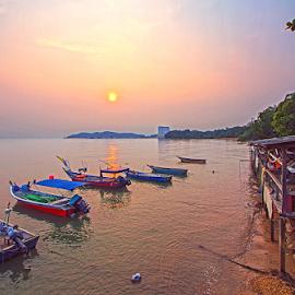 Beautiful Sunset @ Port Dickson by Steven De Siow - Transportation Boats ( landscape photography, seascape, dusk, sunset, scenery, boat,  )