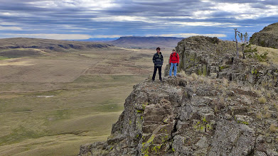 """Photo: """"T"""" and Chris with square Butte in background"""
