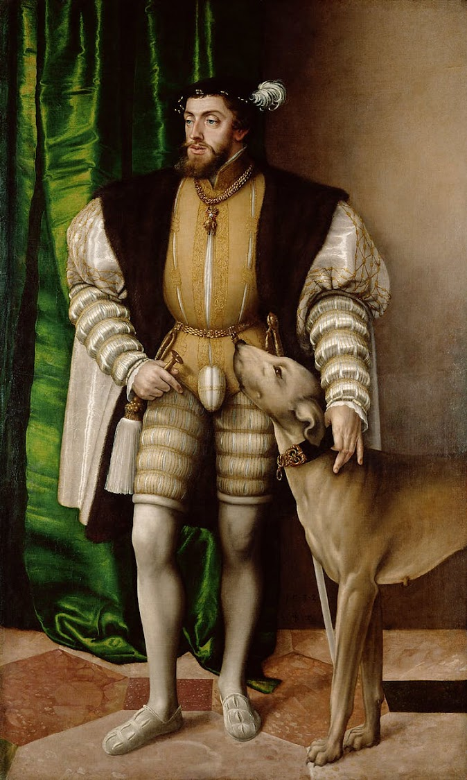 Jakob Seisenegger's Portrait of Emperor Charles V with Dog (1500-1558) also features a prominent codpiece.