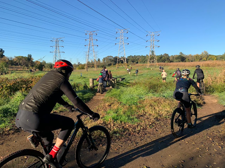 Delta Park in Johannesburg was busy with cyclists and runners. Some of the visitors were not wearing masks.