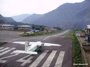Photo: The airport at Lukla - 900ft at 12 degree slope with a 2,000 ft drop-off on the end.