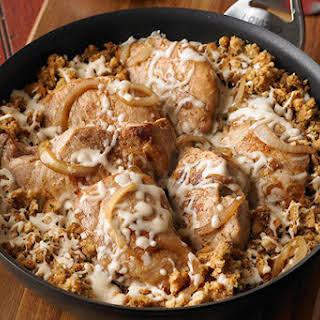 French Onion-Pork Chop Skillet.