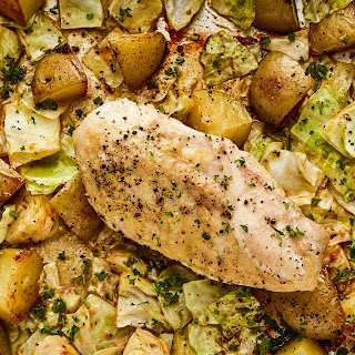 Sheet Pan Chicken Breast With Potatoes and Cabbage.