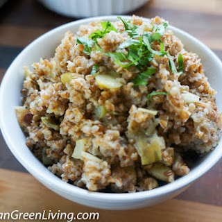 Cracked Wheat or Bulgur Wheat with Leek and Lima Beans.