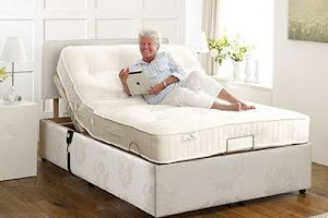 woman on a double adjustable bed