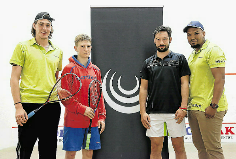 John Khun, Tristan Worth, Lawrence Khun and Tomithy Leeuw at Buffs Squash Club on Sunday