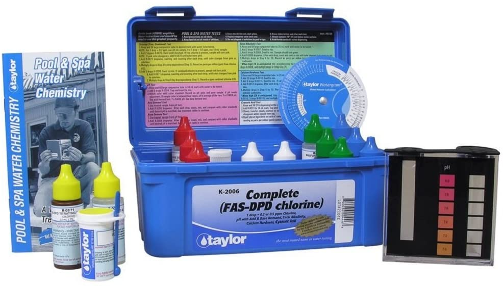 a pool test kit by Taylor Technologies with a blue box, black test kit, and 13 bottles