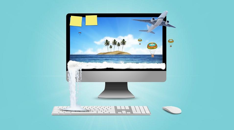 computer with ocean scene