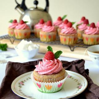 Raspberry Tea Cupcakes with Raspberry Buttercream Frosting