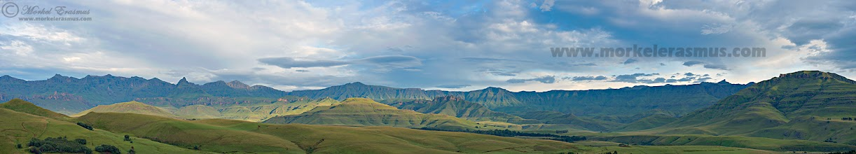 """Photo: """"Welcome to the Drakensberg"""" - AFRICAN TUESDAY Southern Drakensberg Mountains Castleburn, Underberg, South Africa  NB: Click to open the photo full size!!  Good morning! The theme for today's round of African Tuesday is POWER PANOS. We want to see your panoramas. You can either just crop to a panoramic format or share a stitched panorama comprised of multiple frames. To share your photos: 1. tag your posts with #AfricanTuesday """"Power Panos"""" 2. circle and include the +African Tuesdaytheme page 3. include the curators (myself, +Grobler du Preezand +Dick Whitlock) We are looking forward to your African power panos!  This is a mega-panorama I shot earlier this year in the Southern Drakensberg. The final panoramic stitch is 25919 x 4655 pixels and I recently printed it on 3meter wide canvas for a client. The detail in the large file is immense. I resized to 1600px wide for G+. Sorry for the watermarking, but I normally I only post as large as 1000px wide on the internet.  Photo taken with: Nikon D800, Nikkor 24-70mm f2.8  This photo is Copyrighted © Morkel Erasmus Photography.  WEBSITE: www.morkelerasmus.com SAFARIS: www.wild-eye.co.za  You may share this image as presented here under the Creative Commons Attribution-NonCommercial-NoDerivs 3.0 licence (CC BY-NC-ND)   Submission for: 1. #mountainmonday +Mountain Monday curated by +Michael Russell (a late one!) 2. #landscapearttuesday +LandscapeArtTuesday curated by +Christina Deubel 3, #hqsplandscape +HQSP Landscape curated by +* , +Delcour Eric , +Blake Harrold 4. #LandscapePhotography +Landscape Photography curated by +Margaret Tompkins , +Carra Riley , +paul t beard , +David Heath Williams , +Bill Wood , +Jim Warthman , +Ben T , +jeff beddow ,+Jeannie Danna , +Tom Hierl , +Vishal Kumar 5. #pixelworld +PixelWorld curated by +Alberto Carreras 6. #plusphotoextract curated by +Jarek Klimek  #mountains  #panorama  #SouthAfrica  #Drakensberg  #nature  #landscape  #travel"""