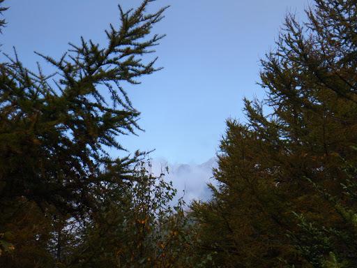 西方向に北・奥穂高岳など