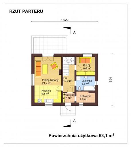Mały dom w Chociwlu 1 - Rzut parteru