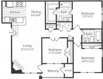 Go to C1 - Three Bed, Two Bath Floorplan page.