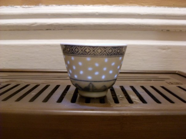 Photo: Showing off what my rice pattern cups look like illuminated. I bought a set of these on Ebay.