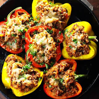 Southwest Beef & Quinoa Stuffed Peppers.