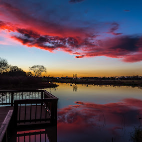 Sunset Red by John Chitty - Landscapes Sunsets & Sunrises ( red, sunset, texas, lake, rosenberg tx )