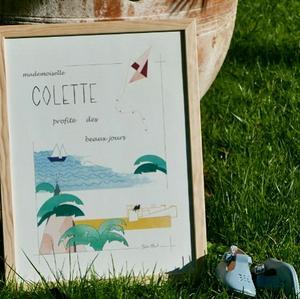 Affiche personnalisée - cadeau de naissance anniversaire - thème chateau de sable bateau et cerf volant - Illustre Albert