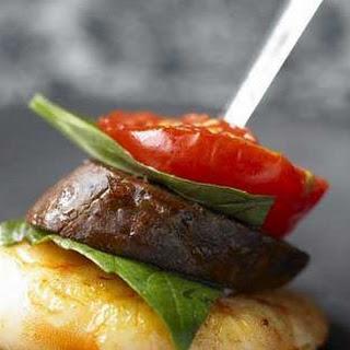 Prawn, Chorizo And Tomato Kebabs.