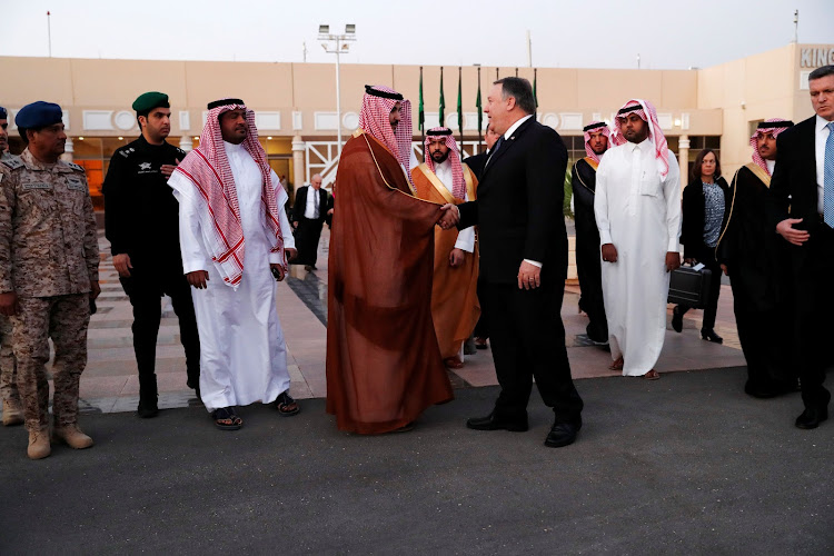 US secretary of state Mike Pompeo shakes hand with a Saudi official before leaving Riyadh, Saudi Arabia, on October 17 2018. Picture: REUTERS/LEAH MILLIS