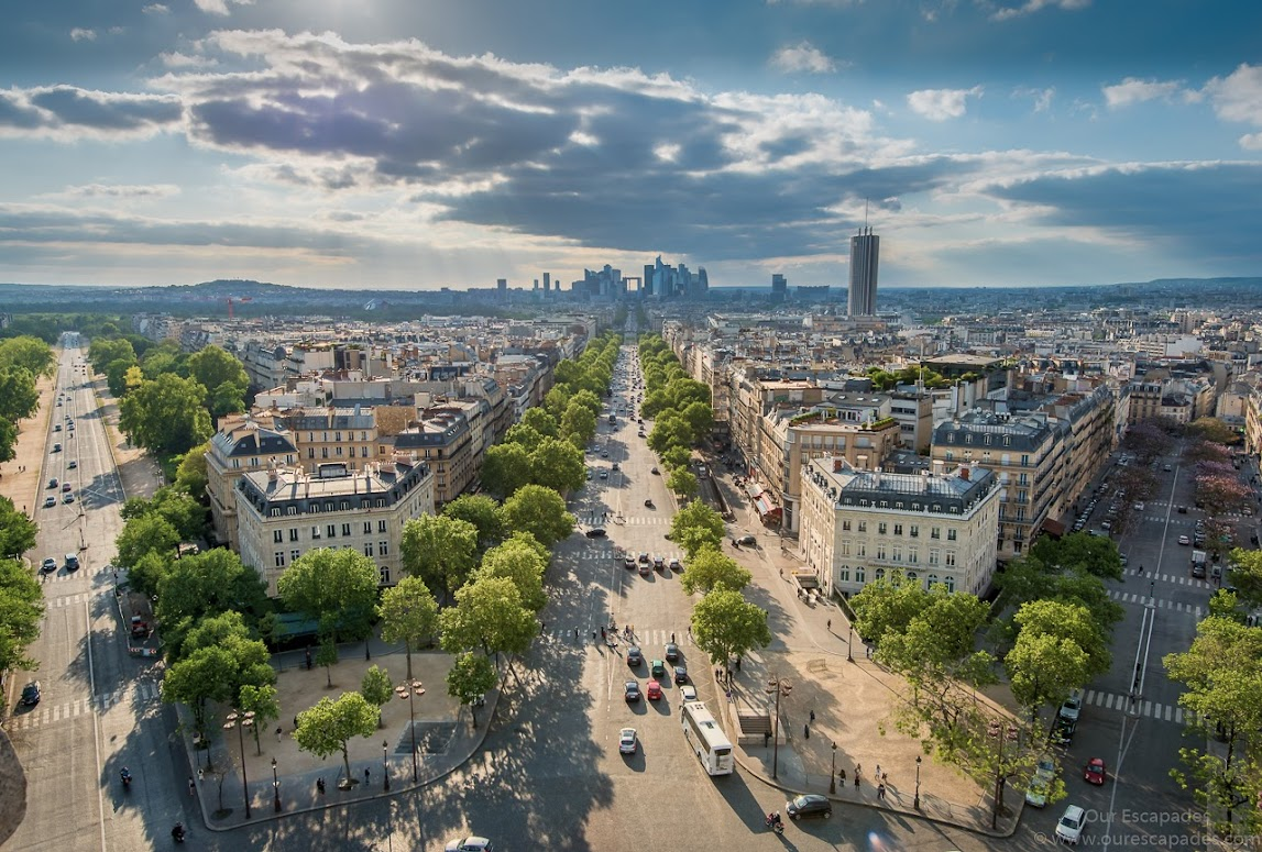 Champs Elysees, as seen from the rooftop of Arc de Triomphe