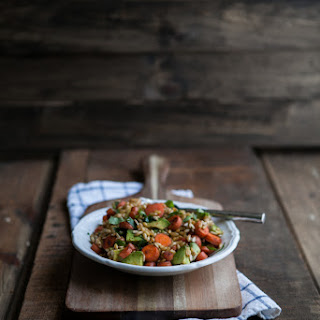 Kamut Salad with Chipotle Carrots and Avocado.