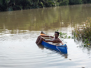 Photo: tested the canoe buoyancy, it stays afloat even if completely flooded, good!