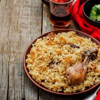 Mediterranean Crockpot Wild Rice and Chicken.
