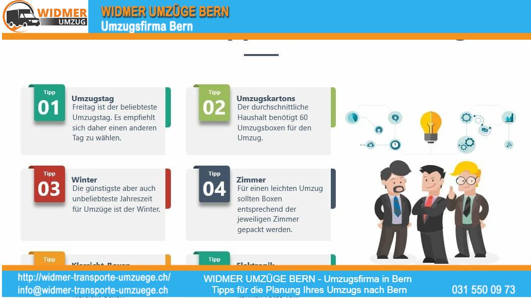 WIDMER UMZÜGE BERN - Umzugsfirma in Bern Tipps für die Planung Ihre Umzug nach Bern