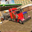 Oil Tanker Truck Transport-Deliver Oil to Station. icon
