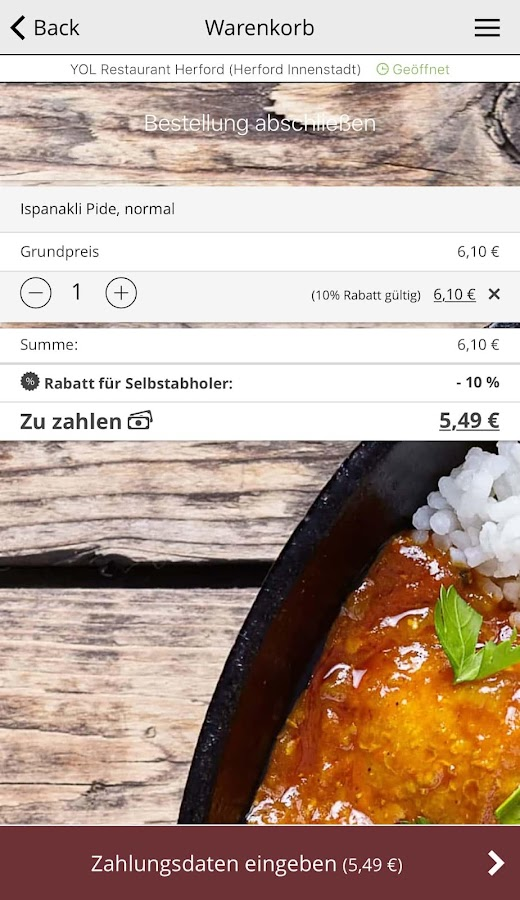 YOL Restaurant Herford – Screenshot