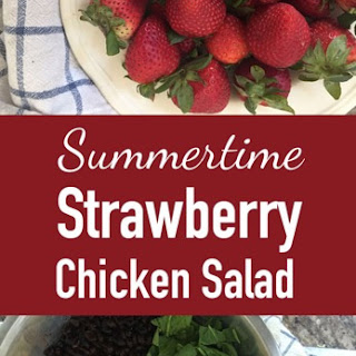 Summertime Strawberry Chicken Salad with Garlic Bread Croutons