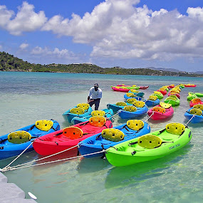 Antiguan tourist transportation by Karen Clemente - Transportation Boats