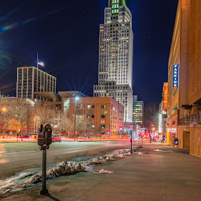 FN Tower by Duane Vosika - City,  Street & Park  Street Scenes ( first national tower, nikon, omaha, shadow, light, cityscape, light trails, nebraska, downtown, skyscraper, long exposure )