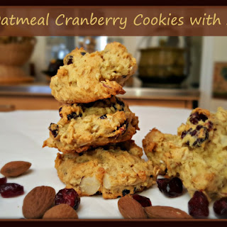 Quinoa Oatmeal Cranberry Cookies with Almonds.
