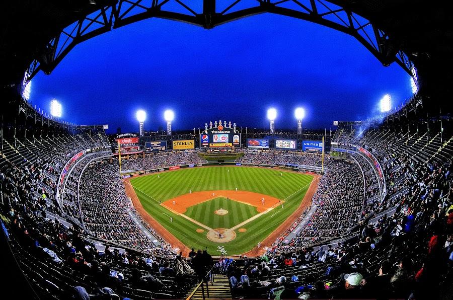 Night Game by John Larson - Sports & Fitness Baseball ( field, fog, baseball, players, stadium, night, people, crowd )