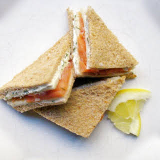 Smoked Salmon and Dill Tea Sandwiches.