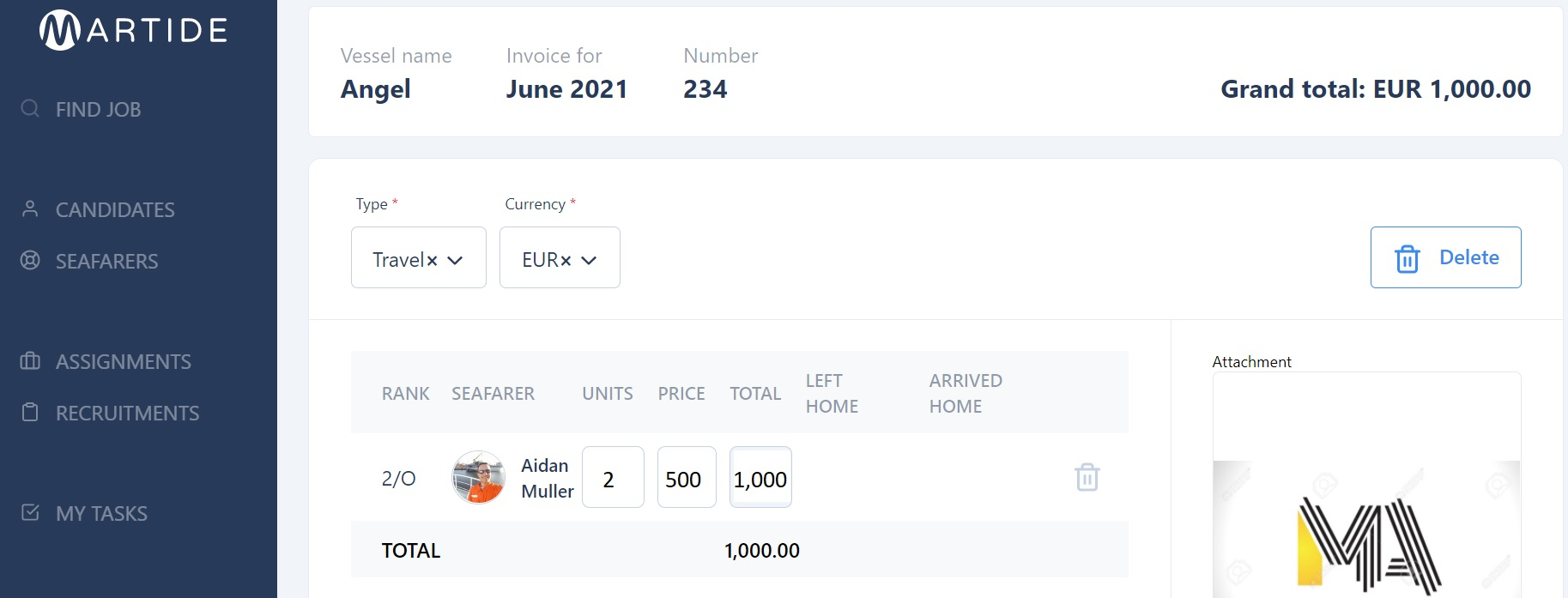 screenshot showing an expense with the total sum.