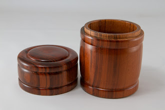 "Photo: Joe Stout 3 1/2"" x 7"" turned box [eucalyptus]"
