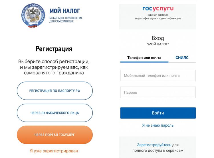 Вот так выглядит регистрация через Госуслуги в приложении «Мой налог»