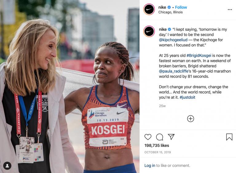 perfil da Nike no Instagram mostrando duas mulheres se olhando